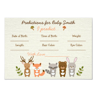 Woodland Forest Animal Predictions For Baby Cards