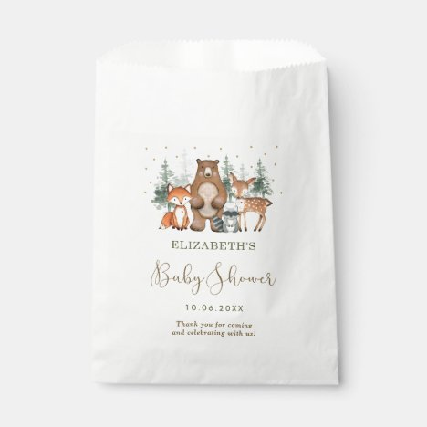 Woodland Forest Animal Wintry Greenery Baby Shower Favor Bag