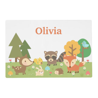 Woodland Forest Animals and Creatures For Kids Laminated Placemat