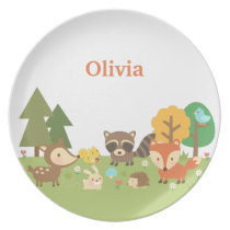 Woodland Forest Animals and Creatures For Kids Melamine Plate