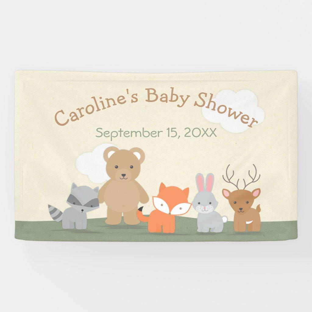 Woodland Forest Animals Baby Shower Banner