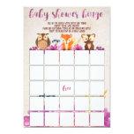 Woodland Forest Animals Baby Shower Bingo Card