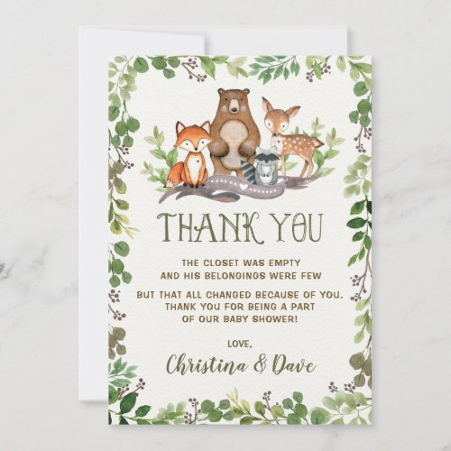 Woodland Forest Animals Baby Shower Greenery Thank You Card