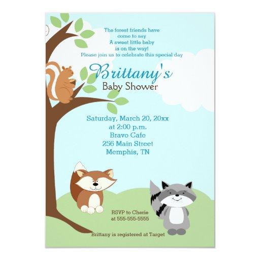 woodland forest animals baby shower invitation zazzle