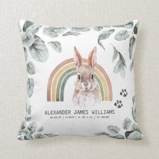 Woodland Forest Animals Birth Stats Pillow