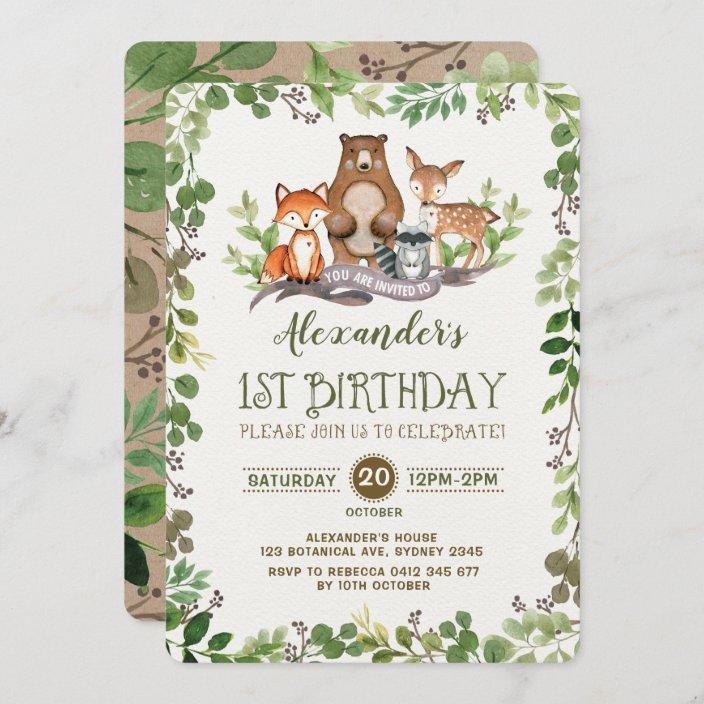 woodland forest animals first 1st birthday invite zazzle com