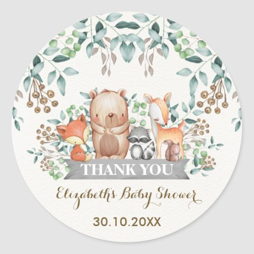 Woodland Forest Animals Thank You Sticker Favors