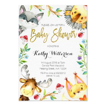 HappyPartyStudio Woodland Forest Baby Shower invitation