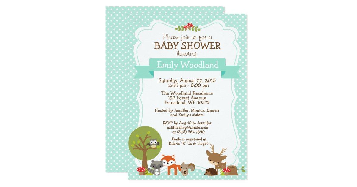woodland forest baby shower invitation blue zazzle