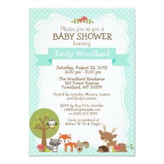 Woodland Forest Baby Shower invitation blue