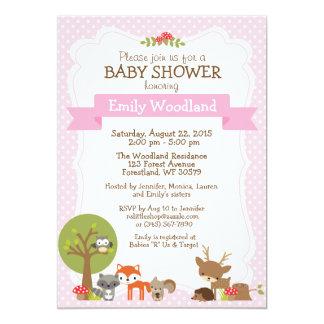 Woodland Forest Baby Shower invitation pink