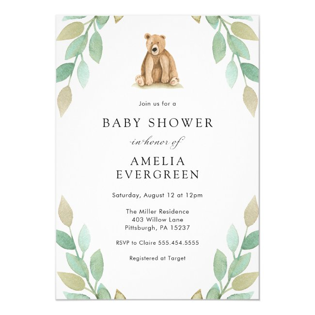 Woodland Forest Bear Baby Shower Invitation