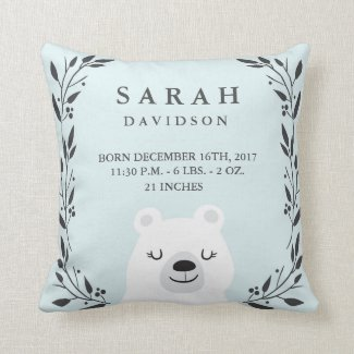 Woodland Forest Birth Stats- Bear Nursery Pillow