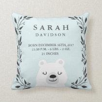 Woodland Forest Birth Stats- Bear Nursery Pillow