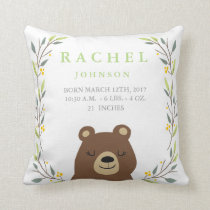 Woodland Forest Birth Stats - Bear Nursery Pillow