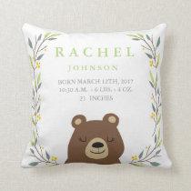 Woodland Forest Birth Stats - Bear Nursery Pillow