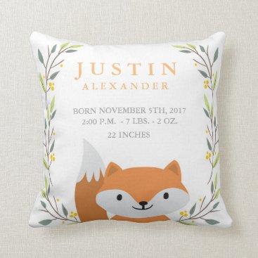OS_Designs Woodland Forest Birth Stats- Fox Nursery Pillow