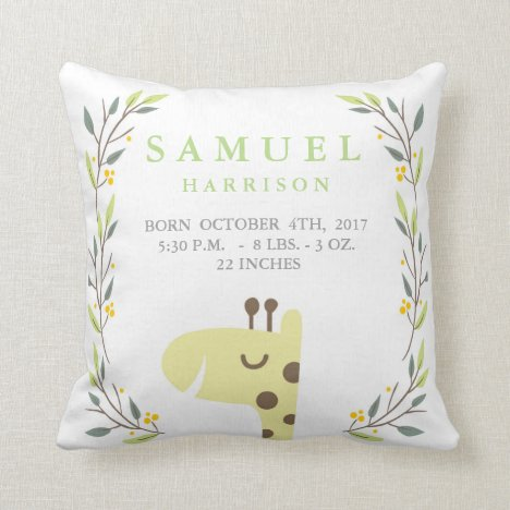 Woodland Forest Birth Stats-Giraffe Nursery Pillow