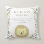 "Woodland Forest Birth Stats- Lion Nursery Pillow<br><div class=""desc"">An adorable throw pillow for a nursery which can be personalized with a baby&#39;s birth details. A wide array of other baby pillows and products are available at my store.</div>"