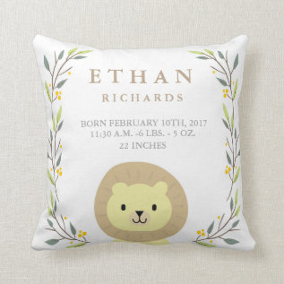 Woodland Forest Birth Stats- Lion Nursery Pillow at Zazzle