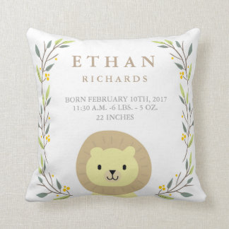 Woodland Forest Birth Stats- Lion Nursery Pillow