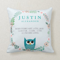 Woodland Forest Birth Stats Owl Nursery Pillow