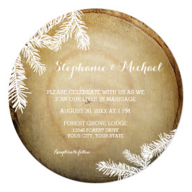 Woodland Forest Center Cut Wood Tree Trunk Wedding 5.25x5.25 Square Paper Invitation Card