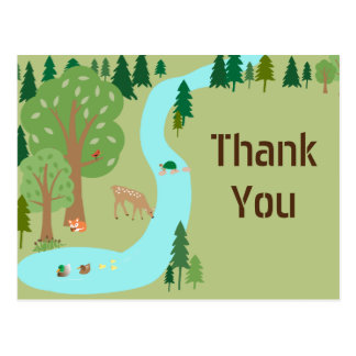Woodland Forest Critters Birthday Thank You Postcard