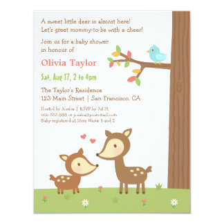 Woodland Forest Deer Baby Shower Invitations