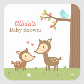 Woodland Forest Deer Baby Shower Party Labels
