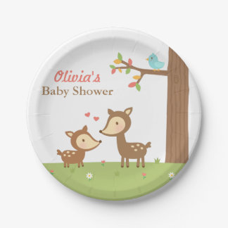 Woodland Forest Deer Baby Shower Party Supplies 7 Inch Paper Plate
