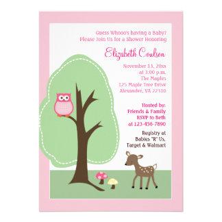 Woodland Forest Deer Pink Baby Shower Invitation