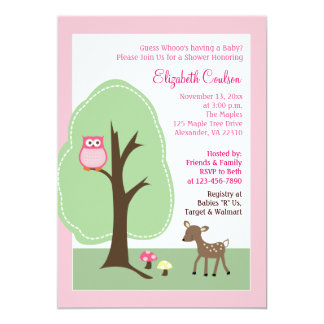 "Woodland Forest Deer (Pink) Baby Shower Invitation 5"" X 7"" Invitation Card"