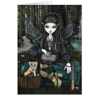 Woodland Forest Fairy Bohemian Dreadlocks Zoti Greeting Card