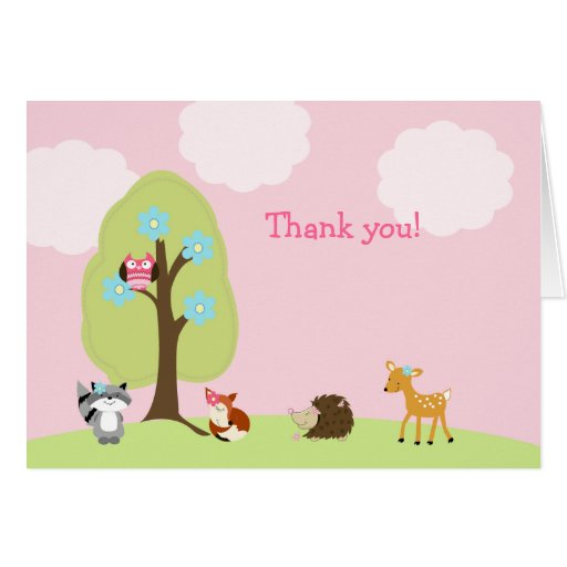 Woodland Forest Friends Folded Thank you Note Card