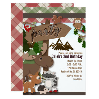 Woodland Forest Friends Kids Birthday Party Card
