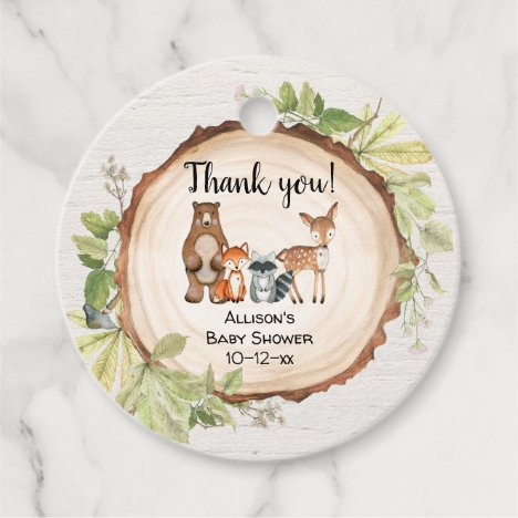 Woodland forest friends rustic baby shower favor tags