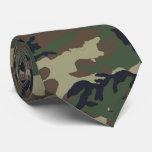 Woodland Forest Green Camouflage Pattern Tie