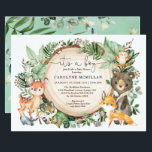 "Woodland Forest Greenery Wild Animals Baby Shower Invitation<br><div class=""desc"">Celebrate the upcoming arrival of your little wild one with this whimsical woodland themed baby shower invitation. The design features a group of adorable forest friends (deer,  bear,  raccoon,  fox,  owl,  bunny,  skunk ) and lush watercolor greenery.</div>"
