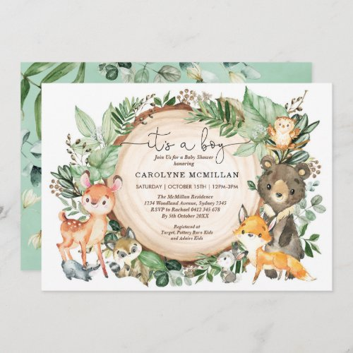 Woodland Forest Greenery Wild Animals Baby Shower Invitation