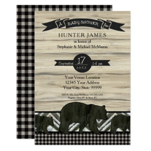 Woodland Forest Lumberjack Bears Wood Baby Shower Invitation
