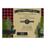 Woodland Forest Lumberjack Plaid Wood Baby Shower 5x7 Paper Invitation Card