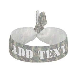 Woodland Forest Military Camouflage Ribbon Hair Tie