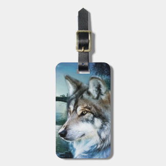 woodland forest moonlight full moon wolf bag tag