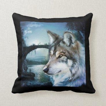 Halloween Themed woodland forest moonlight full moon wolf throw pillow