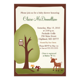 Woodland Forest Nature 5x7 Baby Shower Invitation