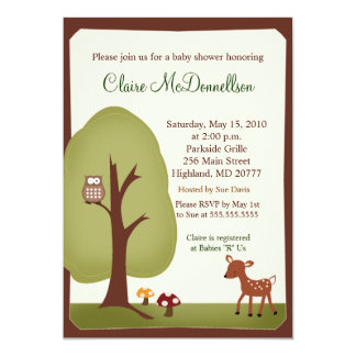 "Woodland Forest Nature 5x7 Baby Shower Invitation 5"" X 7"" Invitation Card"