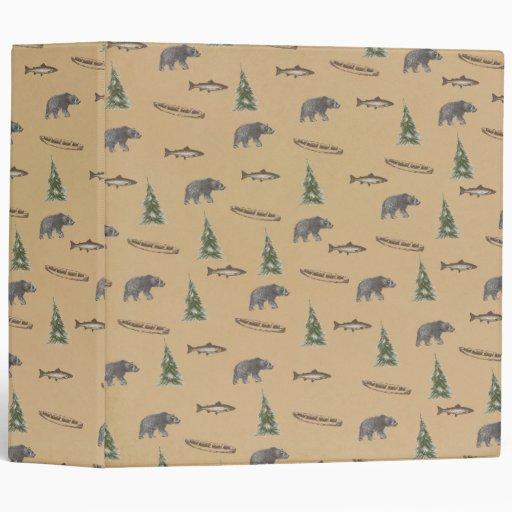 Woodland Forest Rustic Bear Fish Tree Print 3 Ring Binder