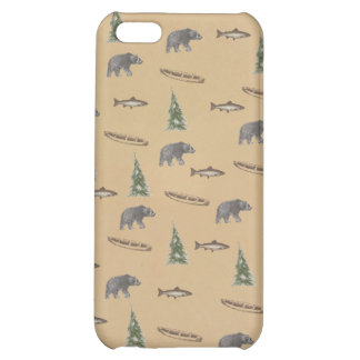 Woodland Forest Rustic Bear Fish Tree Print Case For iPhone 5C