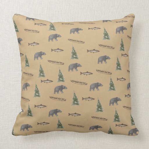 Woodland Forest Rustic Bear Fish Tree Print Throw Pillows